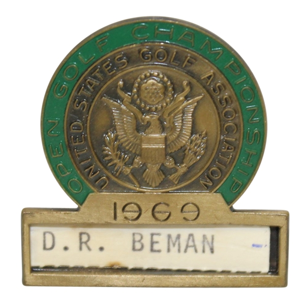 Deane Beman's 1969 US Open at Champions GC Contestant Badge - Orville Moody Winner