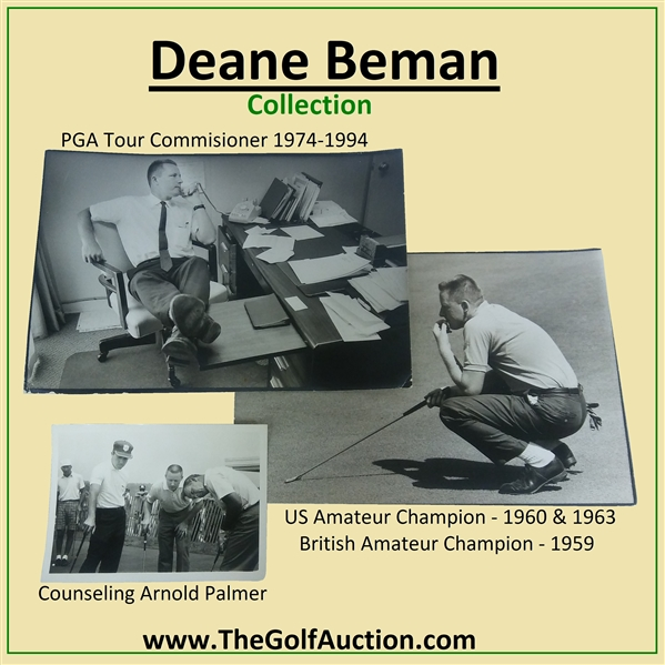 Deane Beman's 1972 US Open at Pebble Beach Contestant Badge - Jack Nicklaus Winner