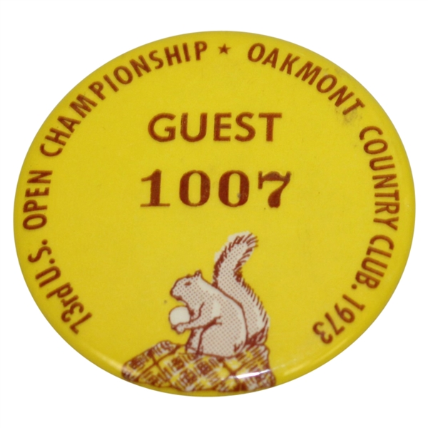 Deane Beman's 1973 US Open at Oakmont Guest Badge #1007 - Johnny Miller Winner