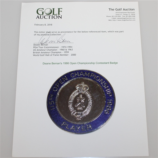 Deane Beman's 1986 Open Championship Contestant Badge - Greg Norman Winner