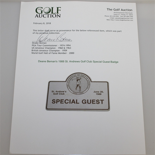 Deane Beman's 1988 St. Andrews Golf Club Special Guest Badge - Centennial of Golf in America