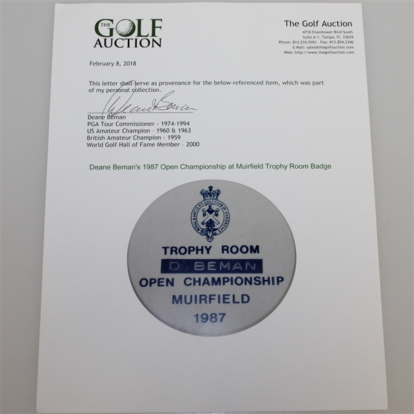 Deane Beman's 1987 Open Championship at Muirfield Trophy Room Badge - Nick Faldo Winner
