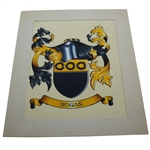 Ben Hogan Family Crest - Hand Painted and Matted