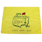 Phil Mickelson Center Signed 2006 Masters Flag - Only Known With Phils 3 Wins Notated! JSA #Z76604