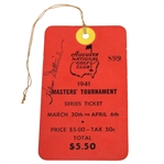 1941 Masters Tournament SERIES Badge #899 with Original String - Only Known Example!