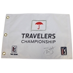 Jim Furyk Signed & Dated TPC Travelers Embroidered Flag with 58 Notation JSA ALOA