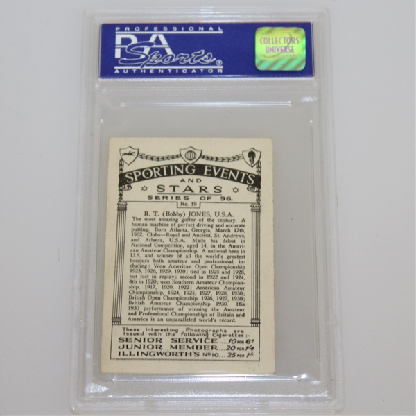 1935 R.T. (Bobby) Jones Sporting Events & Stars Cigarette Card #19 - J.A. Pattreuiouex PSA#06329571