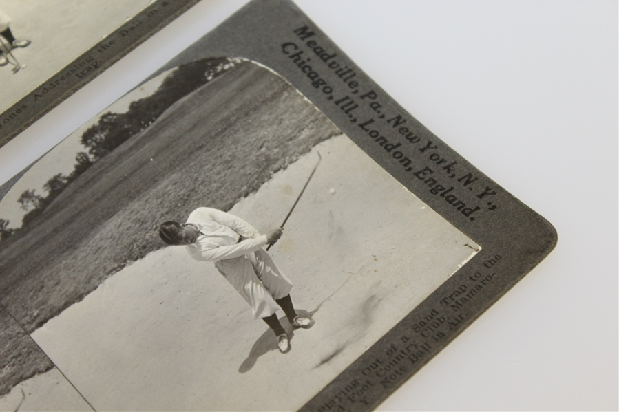 Two Bobby Jones Keystone View Company Stereograph Golf Cards - Out of Sand Bunker
