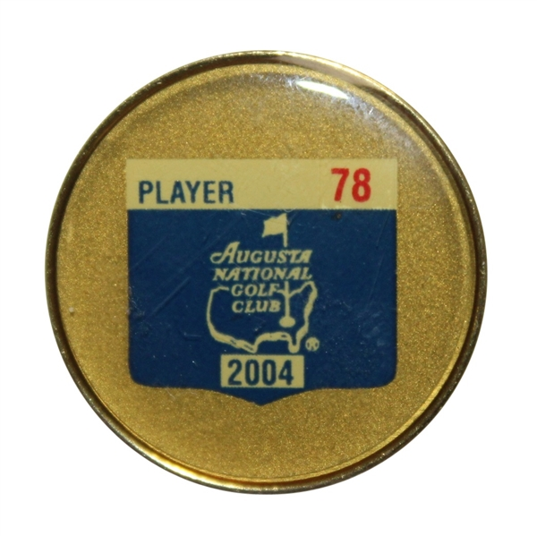 Tiger Woods' 2004 Masters Player Contestant Pin #78 - Palmer Last Year & Phil 1st Win