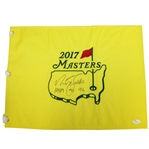 Nick Faldo Signed Masters 2017 Embroidered Flag with Years Won Inscription JSA #T66090