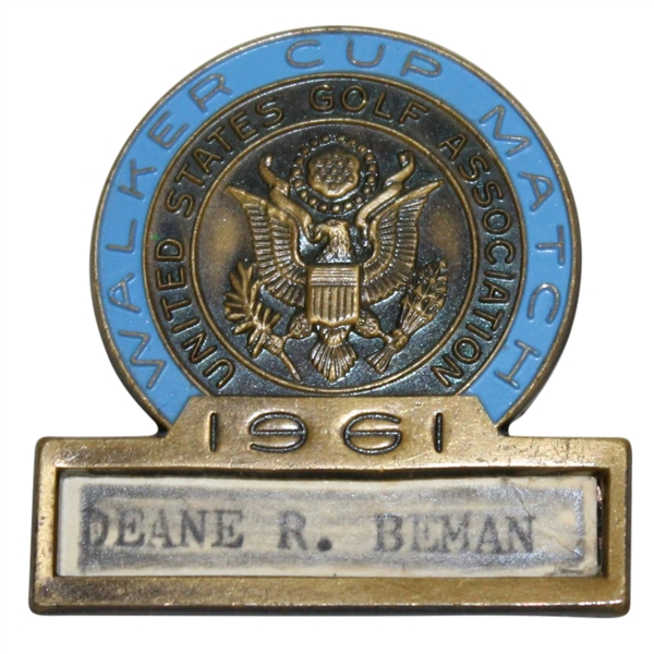 Deane Beman's 1961 Walker Cup Match Contestant Badge
