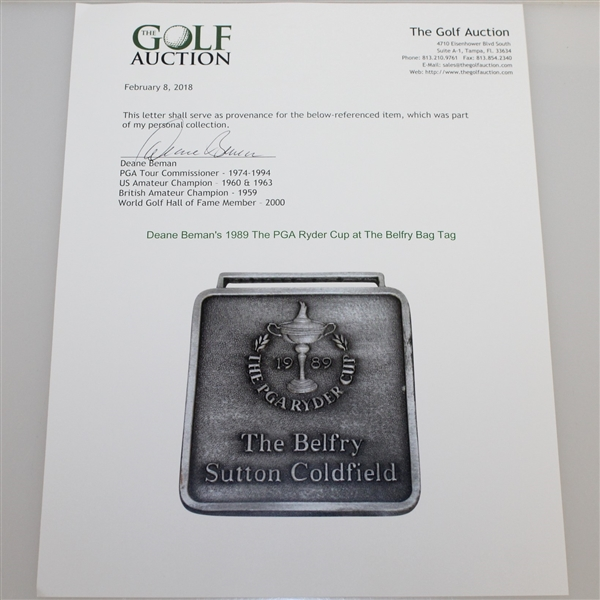 Deane Beman's 1989 The PGA Ryder Cup at The Belfry Bag Tag