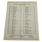 1960 Masters Tournament Friday Pairing Sheet - Palmers 2nd Masters Win - Deane Beman Collection