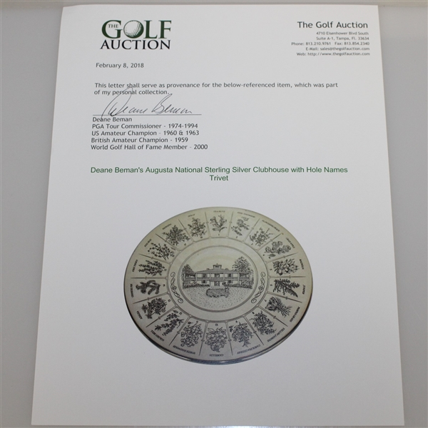 Augusta National Sterling Silver Clubhouse with Hole Names Trivet - Deane Beman Collection