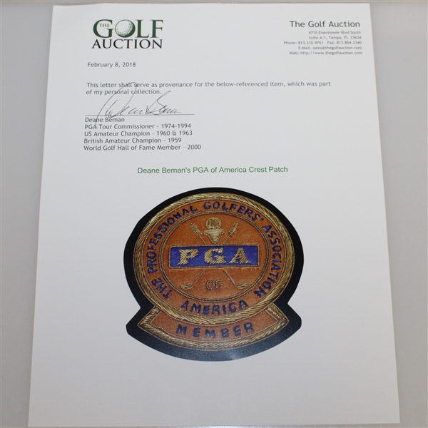 Deane Beman's PGA of America Crest Patch
