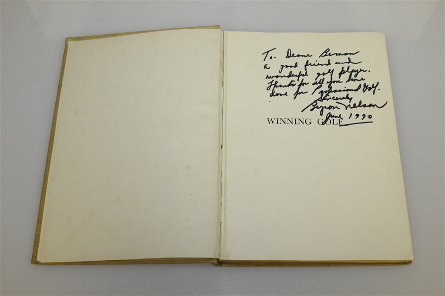 Byron Nelson Signed & Personalized 'Winning Golf' Book to Deane Beman with Letter JSA ALOA