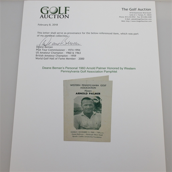 1960 Arnold Palmer Honored by Western Pennsylvania Golf Association Pamphlet - Deane Beman Collection