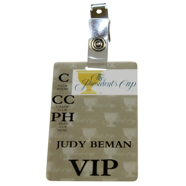 Judy Beman's The President's Cup All Access Badge - Clubhouse/Champ Club/Pres Cup Hosp.
