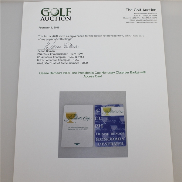 Deane Beman's 2007 The President's Cup Honorary Observer Badge with Access Card