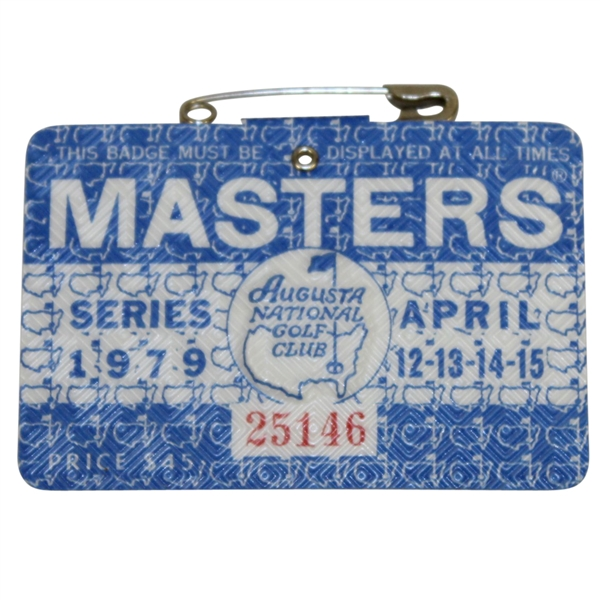1979 Masters Tournament Series Badge #25146 - Fuzzy Zoeller Winner