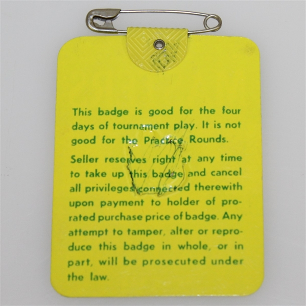 1980 Masters Tournament Series Badge #4733 - Seve Ballesteros Winner