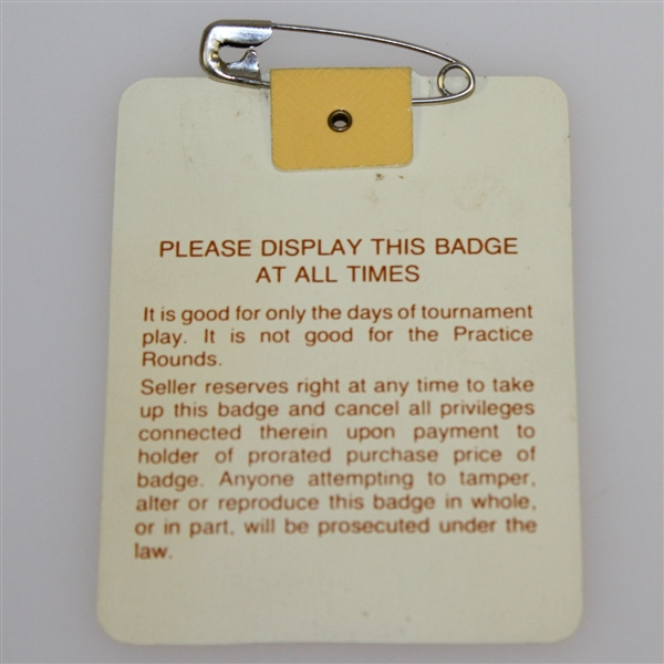 1988 Masters Tournament Series Badge #X14319 - Sandy Lyle Winner