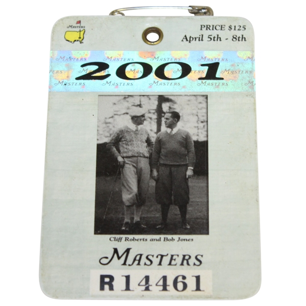 2001 Masters Tournament Series Badge #R14461 - Tiger Woods Winner