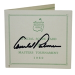 Arnold Palmer Signed 1960 Masters Tournament Official Scorecard FULL JSA #Z53292
