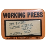 1962 Masters Tournament Working Press Badge - Palmer Win