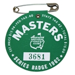 1962 Masters Tournament Badge #3681 - Arnold Palmer Win