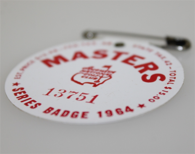 1964 Masters Tournament Badge #13751 - Arnold Palmer Final Masters Victory