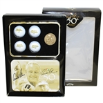 Arnold Palmer Signed 50th Anniversary Callaway Golf Tin with Golf Balls, Medallion, & Box JSA #T67573