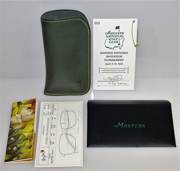 2016 Augusta National Masters Ltd Ed Maui Jim Glasses in Wood Box with Case, Card, Cloth, & More