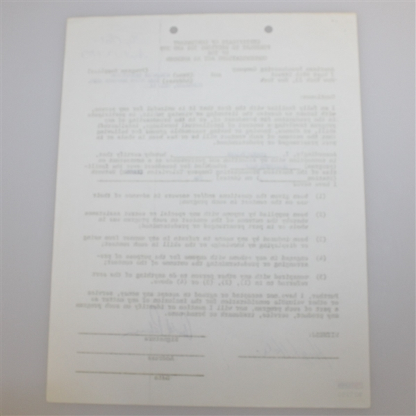 Arnold Palmer Signed 1963 Challenge Golf TV Contract PSA/DNA #B27250