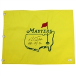 Nick Faldo Signed Undated Masters Embroidered Flag with Years Won Inscription JSA #T66094