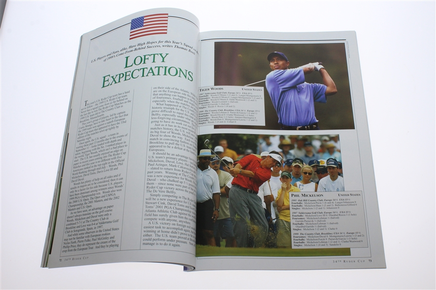 2002 Ryder Cup at The Belfry Program