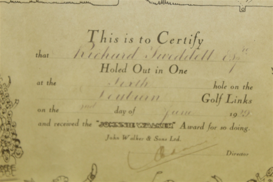 1929 H.M. Bateman Original Artwork on Hole-In-One Certificate - Framed