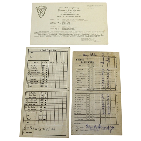 SCGA 1918 Women's Championship Card with Virginia CC & San Gabriel Valley CC Scorecards