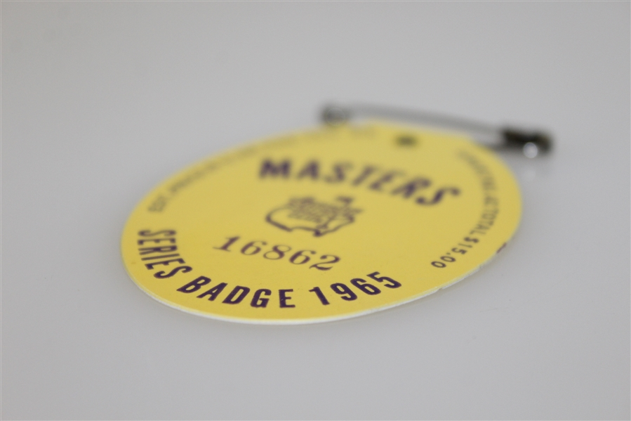 1965 Masters Tournament Series Badge #16862 - Jack Nicklaus Winner
