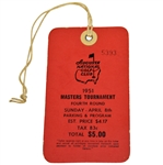 1951 Masters Tournament Fourth Round Sunday Ticket #5393 - Ben Hogan Winner