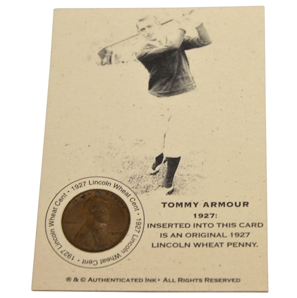 Tommy Armour 1927 Lincoln Wheat Penny Card