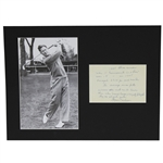 Byron Nelson Signed 1945 Records & Accolades Inscription Card Display JSA ALOA