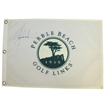Tiger Woods Signed Pebble Beach Golf Links White Screen Flag JSA ALOA