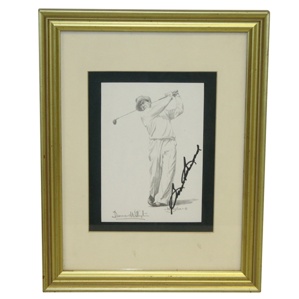 Sam Snead Signed Willington Print - Post Swing - Framed JSA ALOA