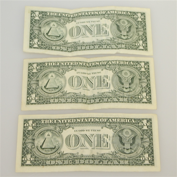 Sam Snead, Fred Couples, & John Daly Signed $1 Dollar Bills JSA ALOA