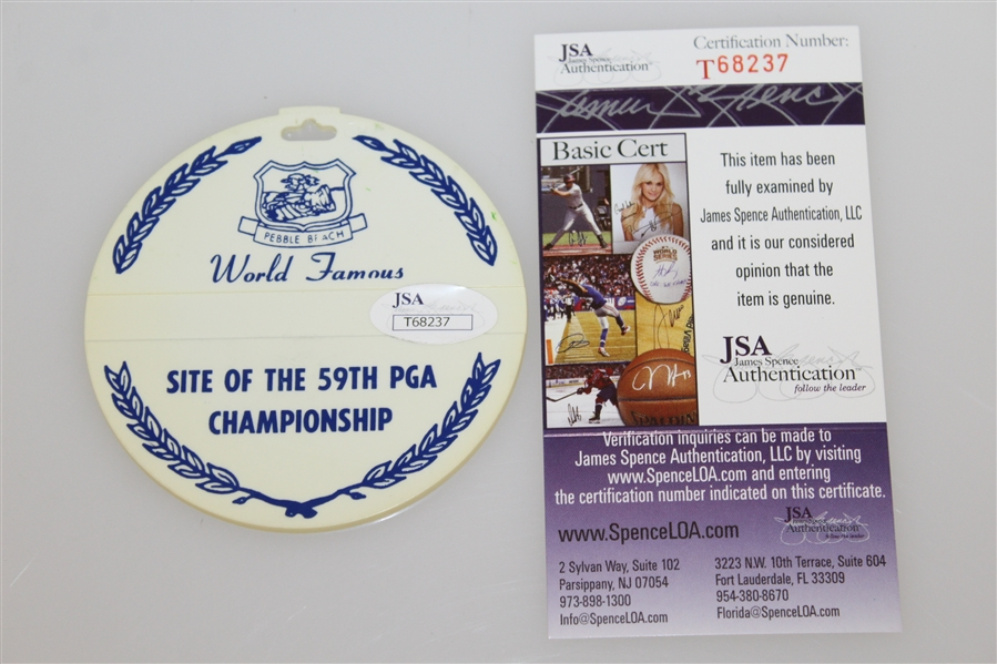 Lanny Wadkins Signed 1977 PGA Championship at Pebble Beach Bag Tag JSA #T68237