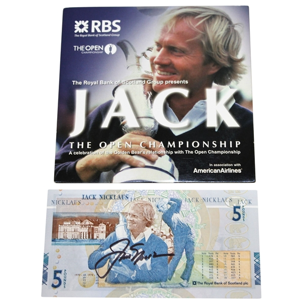 Jack Nicklaus Signed British 5lb Note with RBS Open Championship DVD JSA #Q17811