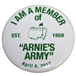 "Masters ""Arnies Army"" Collectible Member Pin Commemorating Arnold Palmer ""est 1959"""