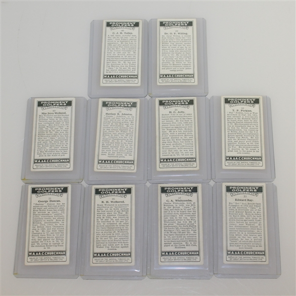 1931 W.A. & A.C. Churchman Prominent Golfers Complete Card Set with 10 Key Cards Slabbed/Graded
