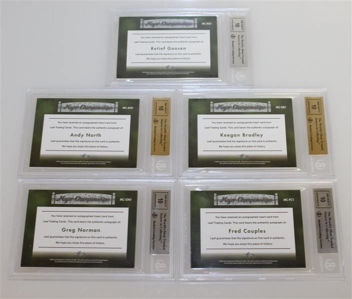 Couples, Norman, North, Bradley, & Goosen Signed 2012 Leaf Ultimate Major Championships Ltd Ed Cards